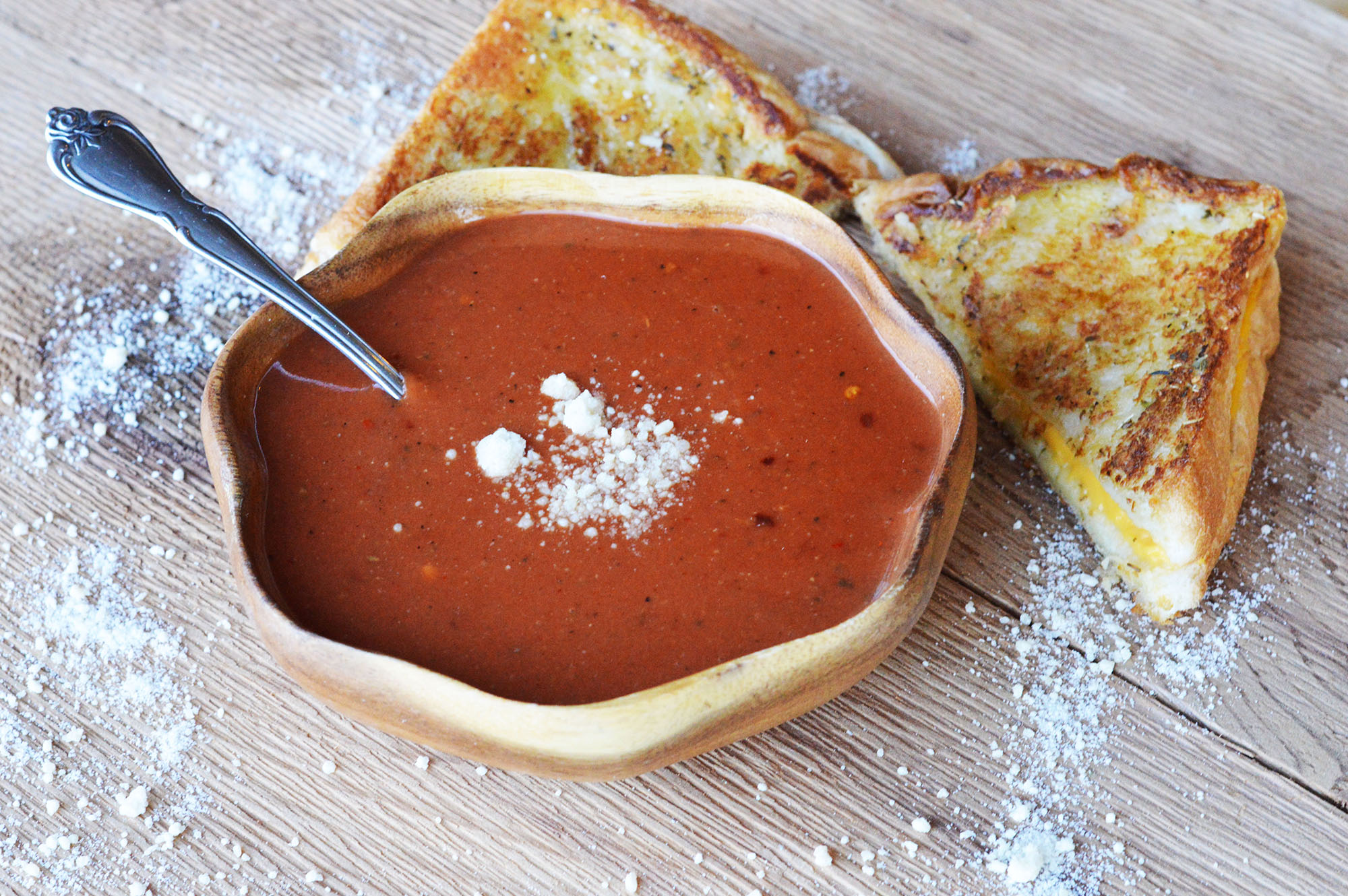 """Souped Up"""" Spicy Tomato Soup and Grilled Cheese - It's Really ..."""